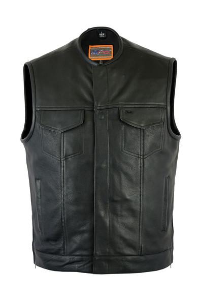 "Leather Motorcycle Vest - Men's - Gun Pockets - 10"" Zipper - Up To 12XL - RC187-DS"