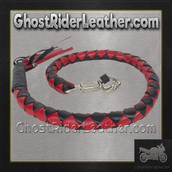 3 Inch Fat - Get Back Whip - Black and Red Leather - GBW6-11-T2-DL