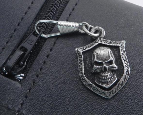 Zipper Pull - Skull Pendant - Distressed Pewter - Biker Accessories - Z-SKXL-DS