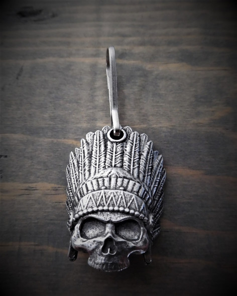 Zipper Pull - Indian Skull - Lead Free Pewter - Made In U.S.A. - BZP-29-DS