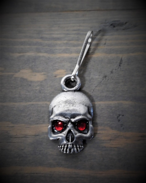Zipper Pull - Skull With Red Jewel Eyes - Lead Free Pewter - Made In U.S.A. - BZP-36-DS
