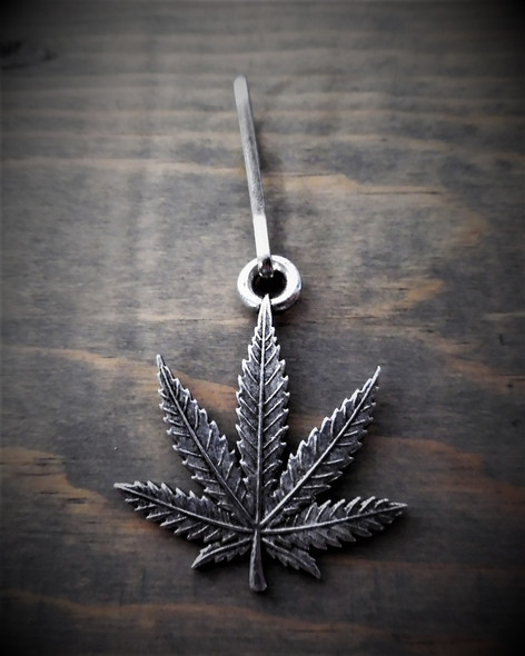 Zipper Pull - Bud Leaf - Weed - Lead Free Pewter - Made In U.S.A. - BZP-30-DS