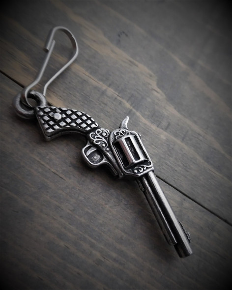 Zipper Pull - Revolver - Hand Gun - Lead Free Pewter - Made In U.S.A. - BZP-24-DS