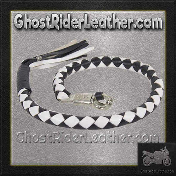 3 Inch Fat Get Back Whip in Black and White Leather - 42 Inches Long - GBW7-11-T2-DL