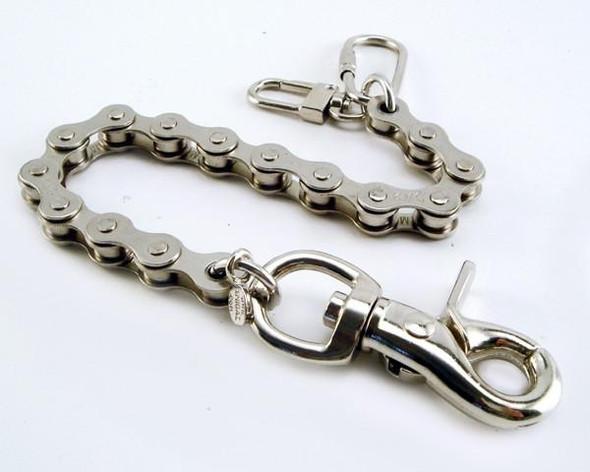 """8"""" - Key Leash Chain - Nickle Plated Steel - Bike Chain - NC320-8-DS"""