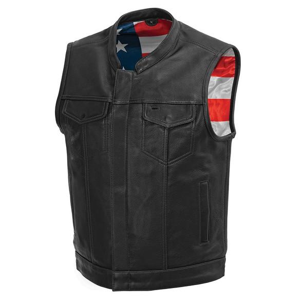 Leather Motorcycle Vest - Men's - USA Flag - Black Stitching - Up To Size 5XL - USA Flag Lining - FIM683CDM-FM