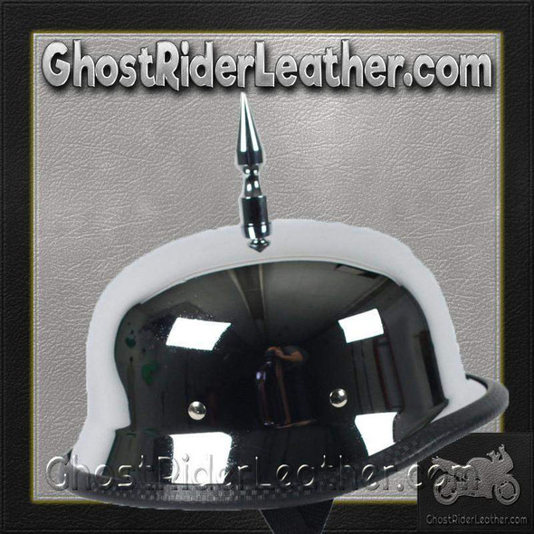 3 Inch Spike Chrome German Novelty Motorcycle Helmet - SKU GRL-SPIKE-CHROME-GERM-NOV-HI