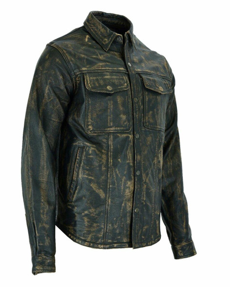 Dealer Leather Mens New Distressed Brown Leather Shirt with Concealed Carry Pockets - MJ777-12L-NEW-DL