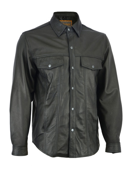 Men's Leather Motorcycle Shirt - Concealed Carry Pockets - DS770-DS