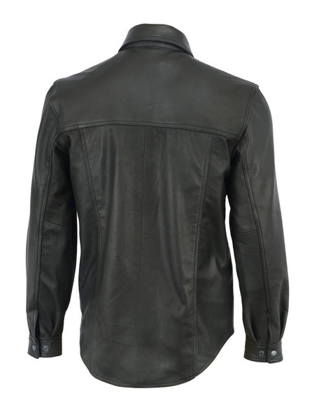 Men's Leather Shirt - Concealed Carry Pockets - Up To Size 9XL - DS770-DS