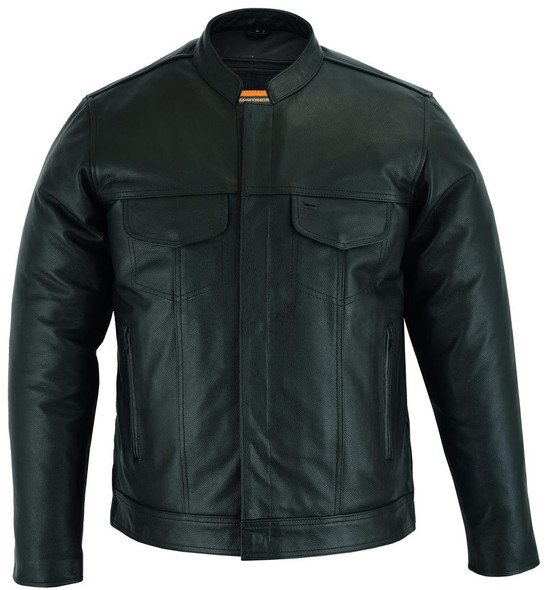 Daniel Smart Mens Leather Motorcycle Shirt - Full Cut - Concealed Carry Pockets - DS788-DS
