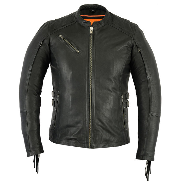 Daniel Smart Womens Updated Stylish Leather Motorcycle Jacket - Fringe and Rivets Design - DS880-DS