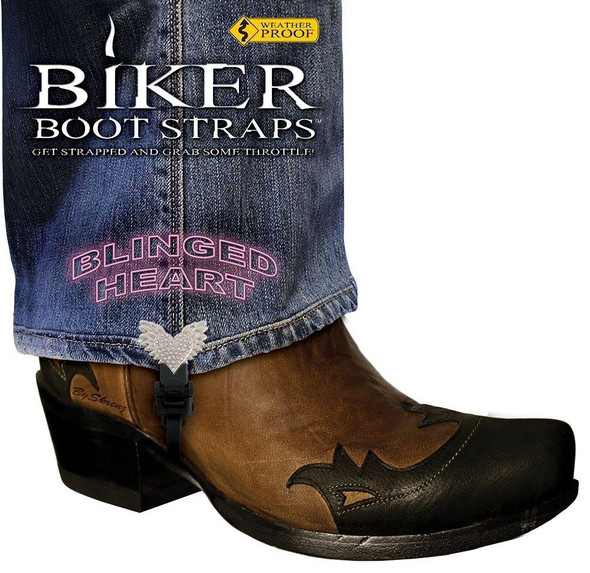 Dealer Leather Pair of Biker Boot Straps - 4 Inch - Blinged Heart - Motorcycle - BBS-BH4-DS