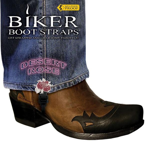 Pair of Biker Boot Straps - 4 Inch - Desert Rose - Motorcycle - BBS-DR4-DS
