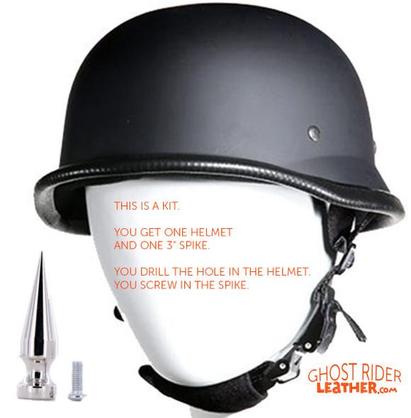 Novelty Motorcycle Helmet - Flat or Gloss Black - German - Spike - Kit - H402-502-SP400-KIT-DL