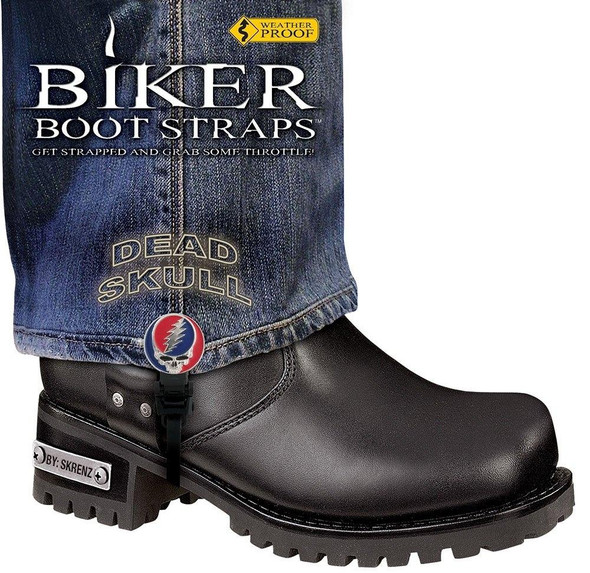 Dealer Leather Pair of Biker Boot Straps - 6 Inch - Dead Skull - Motorcycle - BBS-DS6-DS