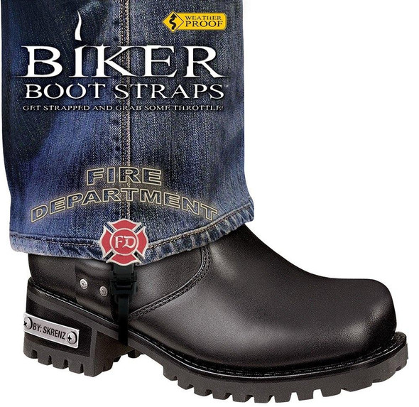 Dealer Leather Pair of Biker Boot Straps - 6 Inch - Fire Department - Motorcycle - BBS-FD6-DS