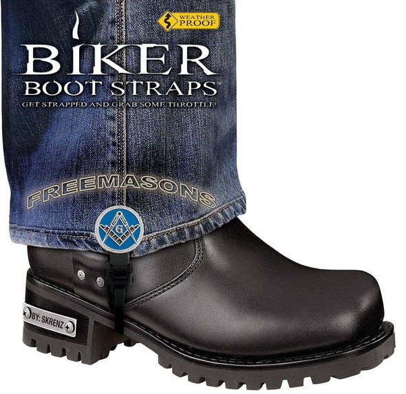 Dealer Leather Pair of Biker Boot Straps - 6 Inch - Freemasons - Motorcycle - BBS-FM6-DS