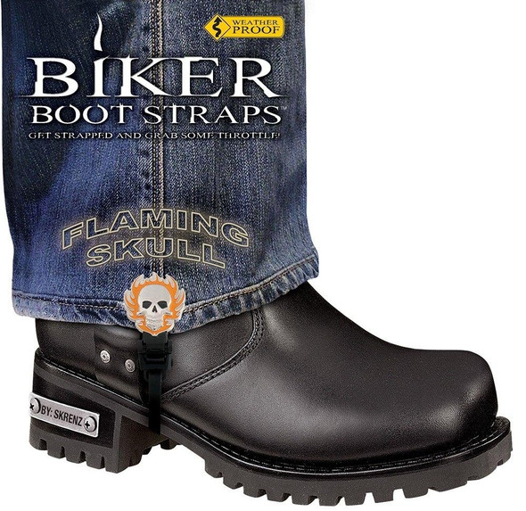 Dealer Leather Pair of Biker Boot Straps - 6 Inch - Flaming Skull - Motorcycle - BBS-FS6-DS