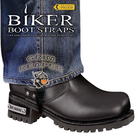 Dealer Leather Pair of Biker Boot Straps - 6 Inch - Grim Reaper - Motorcycle - BBS-GR6-DS