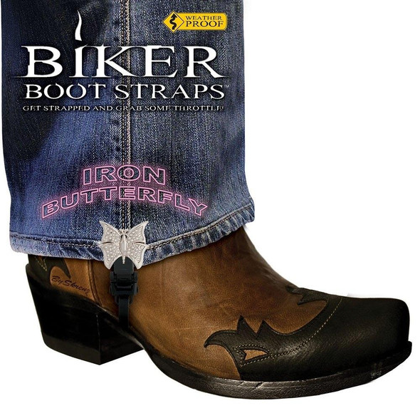 Dealer Leather Pair of Biker Boot Straps - 4 Inch - Iron Butterfly - Motorcycle - BBS-IB4-DS