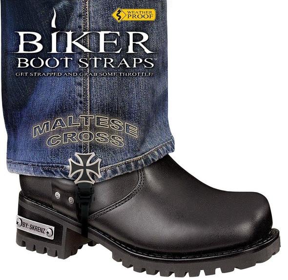 Dealer Leather Pair of Biker Boot Straps - 6 Inch - Maltese Cross - Motorcycle - BBS-MC6-DS