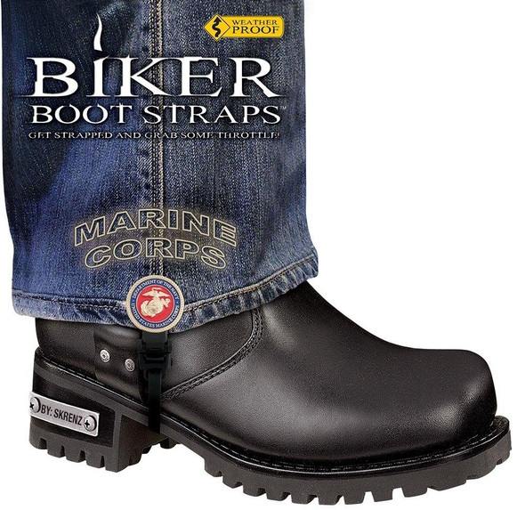 Dealer Leather Pair of Biker Boot Straps - 6 Inch - Marine Corps - Motorcycle - BBS-MR6-DS