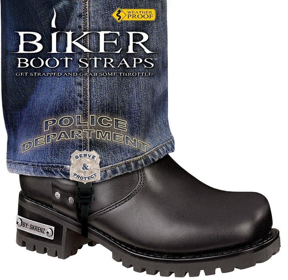 Dealer Leather Pair of Biker Boot Straps - 6 Inch - Police Department - Motorcycle - BBS-PD6-DS
