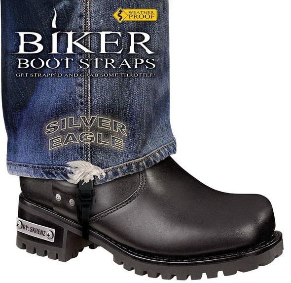 Dealer Leather Pair of Biker Boot Straps - 6 Inch - Silver Eagle - Motorcycle - BBS-SE6-DS