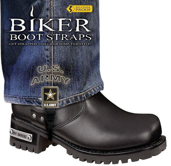 Dealer Leather Pair of Biker Boot Straps - 6 Inch - US Army - Motorcycle - BBS-UA6-DS