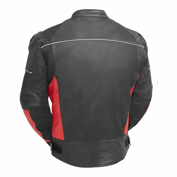 First Manufacturing Company Mens PowerSports Leather Racing Jacket - Red and Black - AT-1104-RED-FM