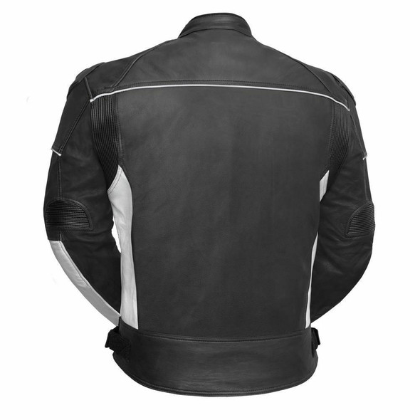 First Manufacturing Company Mens PowerSports Leather Racing Jacket - White and Black - AT-1104-BW-FM