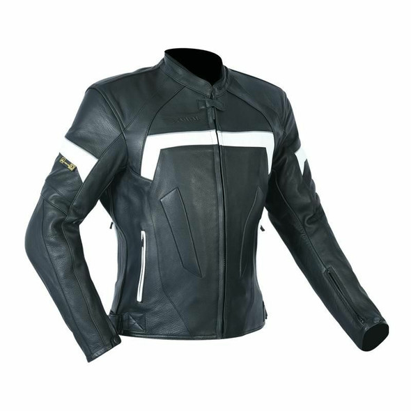 First Manufacturing Company Womens PowerSports Leather Racing Jacket - White and Black - CE-1172-FM