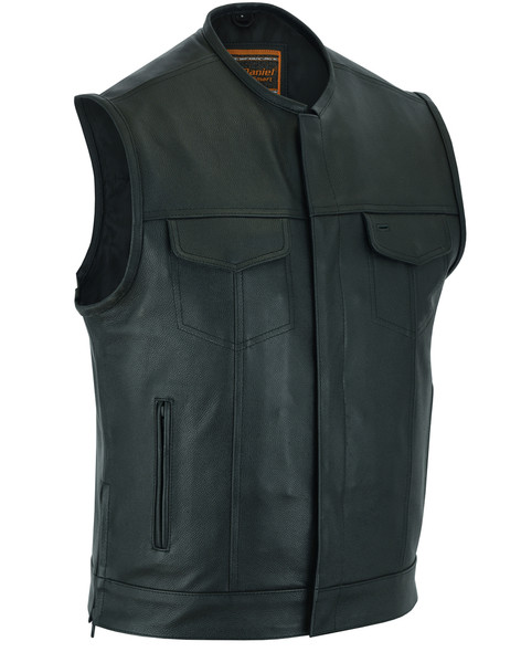 Men's Upgraded Leather Motorcycle Vest With Gun Pockets - Up To 12XL - Big and Tall - DS177-DS