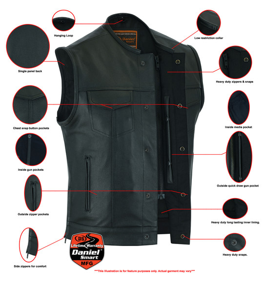 Leather Motorcycle Vest - Men's - Gun Pockets - Up To 12XL - Big and Tall - DS177-DS