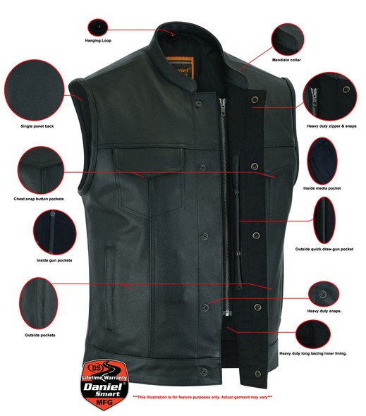 Men's Upgraded Leather Motorcycle Vest With Gun Pockets - Up To 12XL - Big and Tall - DS189A-DS