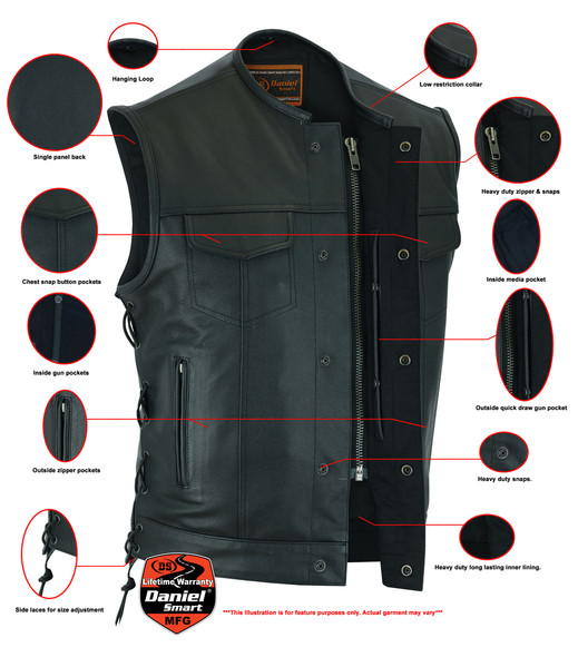 Men's Upgraded Leather Motorcycle Vest With Side Laces - Up To 12XL - Big and Tall - DS78-DS