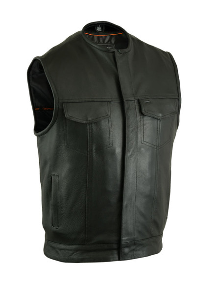 Men's Updated Leather Motorcycle Vest With Hidden Zipper - Up To 12XL - Big and Tall - DS181A-DS