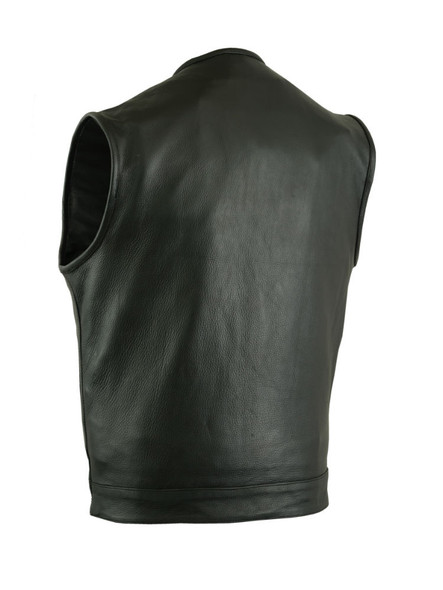 Leather Motorcycle Vest - Men's - Hidden Zipper - Up To 12XL - Big and Tall - DS181A-DS