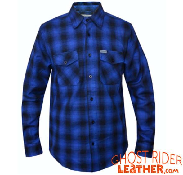 Flannel Motorcycle Shirt - Men's - Black and Blue Plaid - TW136-03-UN
