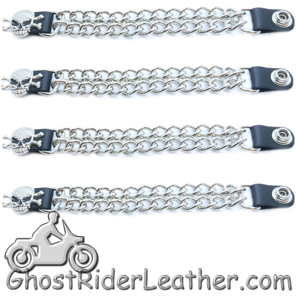 Skull and Crossbones - Vest Extenders - Set Of Four - Made In USA - Extra Long - VE147XL-DS