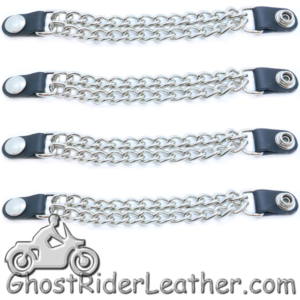 Silver Snap - Vest Extenders - Set Of Four - Made In USA - Extra Long - VE100SXL-DS