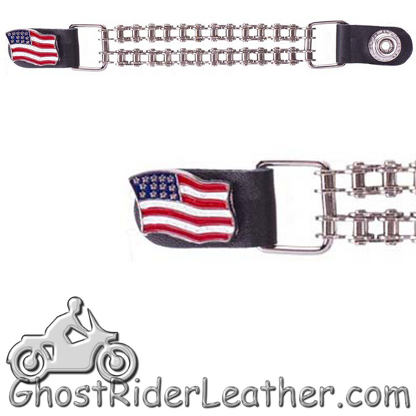 USA Flag Vest Extenders with Chrome Motorcycle Chain - One Single - AC1058-BC-DL-1