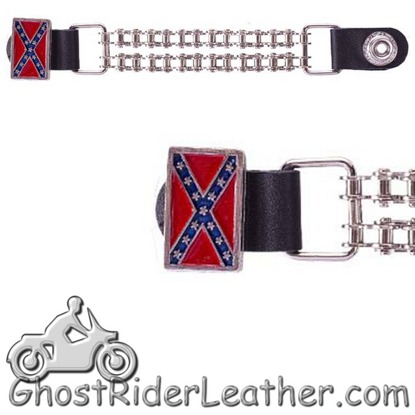 Rebel Flag Vest Extenders with Chrome Motorcycle Chain - One Single - AC1057-BC-DL-1