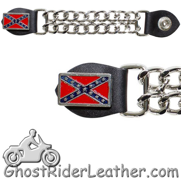 Rebel Flag Vest Extenders with Chrome Chain - One Single - AC1057-DL-1