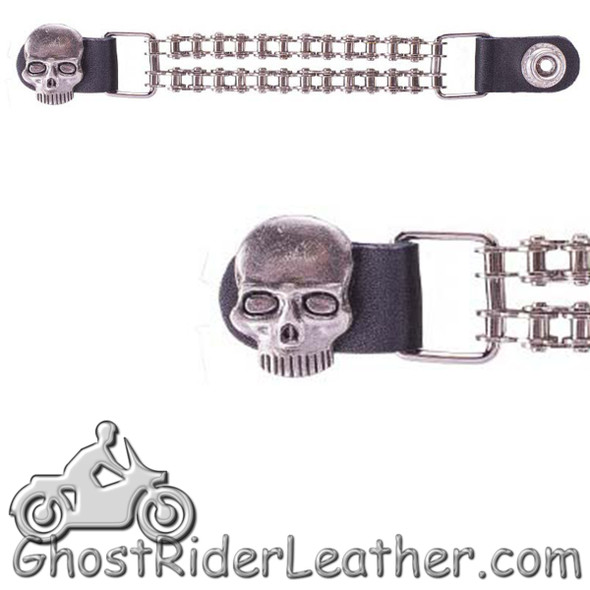 Skull - Vest Extender with Chrome Chain - One Single - AC1064-BC-DL-1