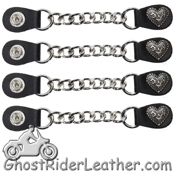 Set of Four Fancy Heart Vest Extenders with Single Chrome Chain - AC1078-LL-DL