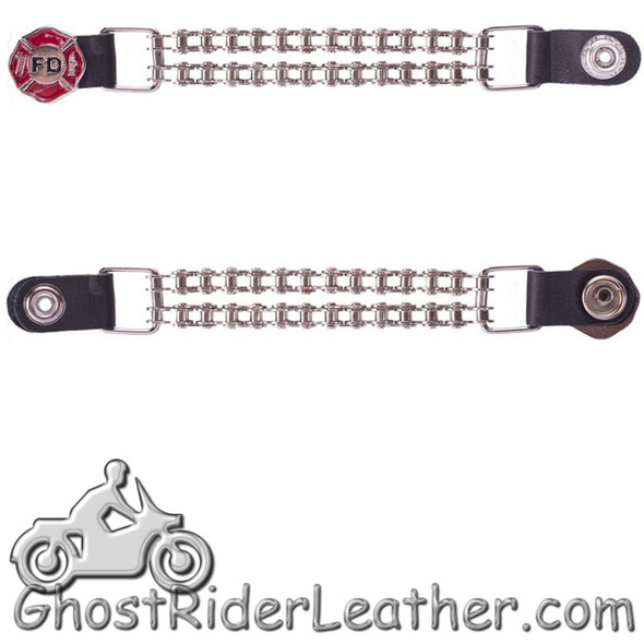 One Single - Fire Department Vest Extender with Chrome Motorcycle Chain - AC1097-FD-BC-DL-1