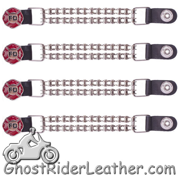 Set of Four - Fire Department Vest Extenders with Chrome Motorcycle Chain - AC1097-FD-BC-DL