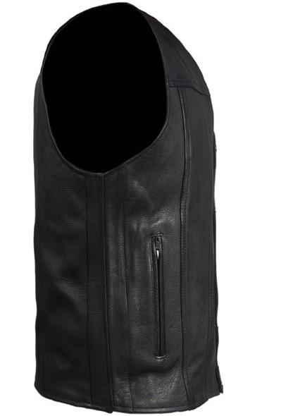 Leather Motorcycle Vest - Men's - Club Style - Gun Pockets - Up To Size 64 - MV8014-11-DL